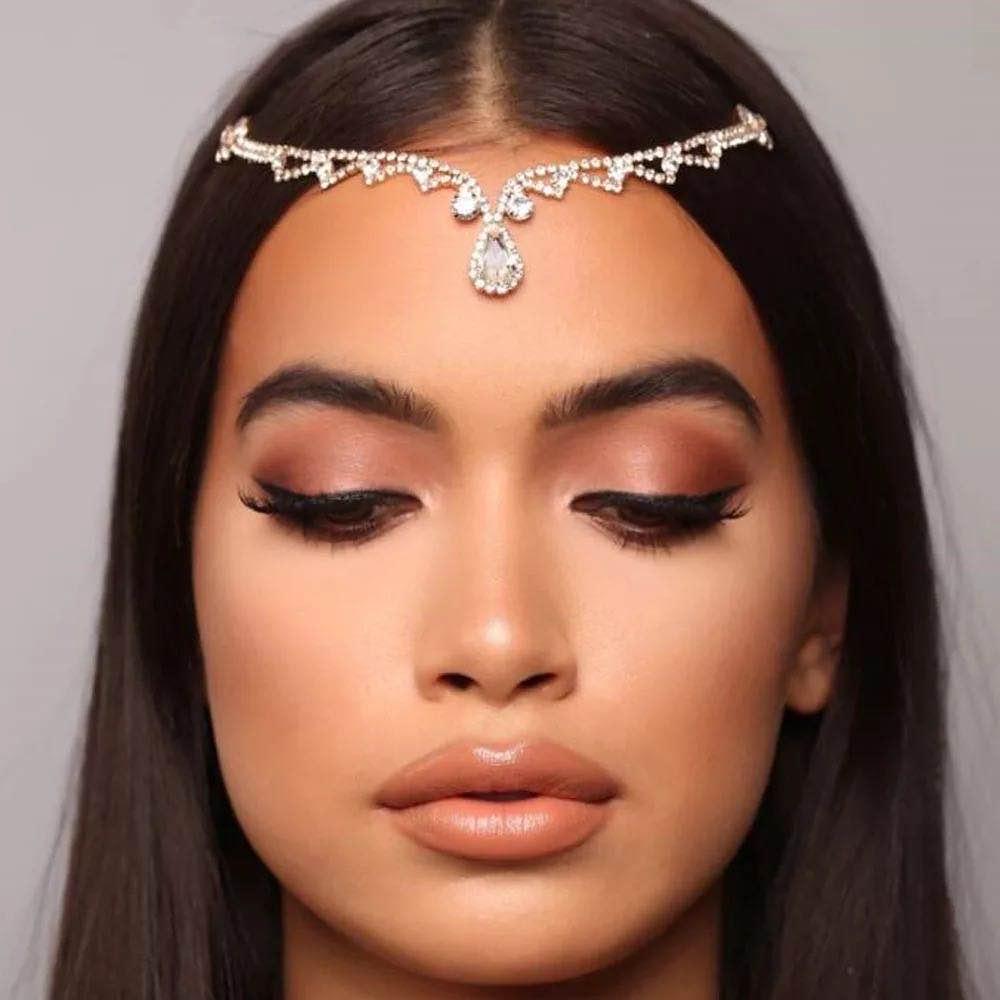 Bohemian Vintage Full Rhinestone Bridal Headband Chain for Women Wedding Crystal Forehead Headband Hair Accessories