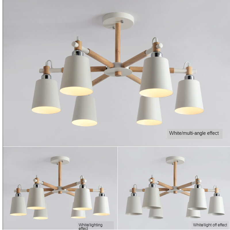 Nordic simples metal suporte de madeira led lâmpada do teto da cozinha sala de estar quarto estudo lâmpada e27 multi-cor lustre