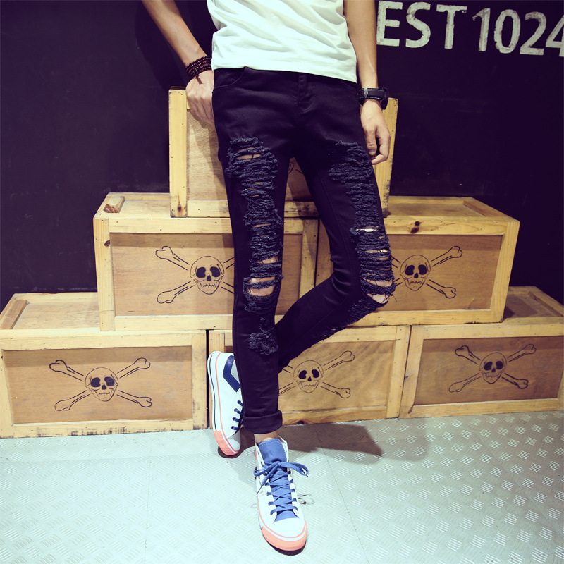 Online Celebrity Ripped Jeans MEN'S Ninth Pants With Holes Thin Jeans Slim Fit Pants 9 Points Pants Students Korean-style Trend