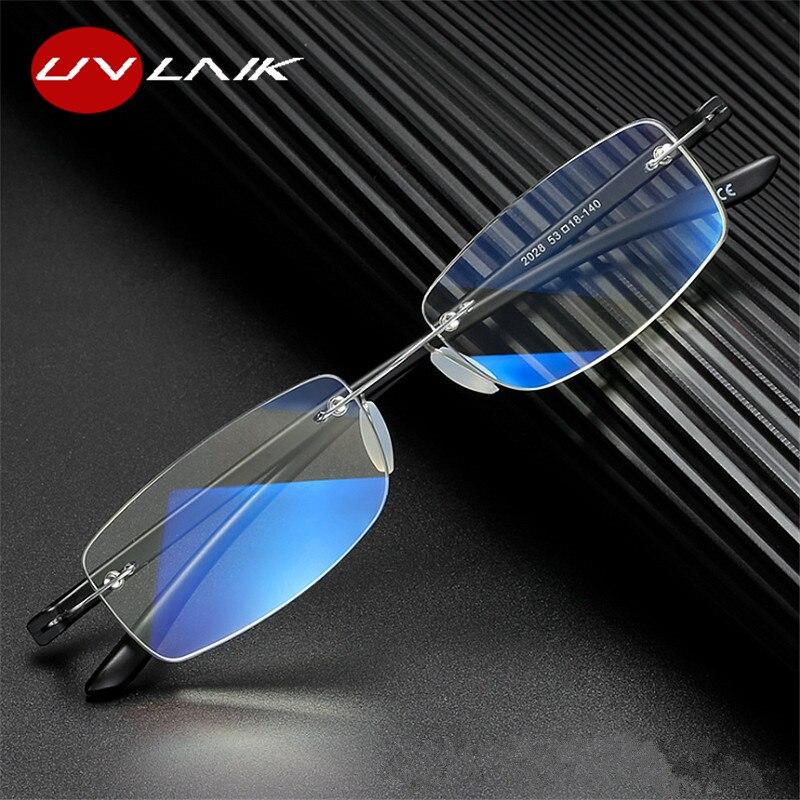 Очки UVLAIK для чтения для мужчин и женщин с защитой от сисветильник света, без рилмов, оптические прозрачные очки без оправы из сплава, 1,0, 1,5, 2,0,...