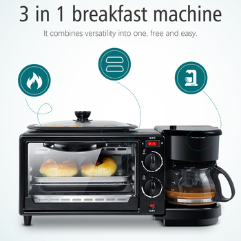 Electric 3 in 1 Breakfast Making Machine Multifunction Drip Coffee Maker Household Bread Pizza Frying pan Toaster 220V Sonifer 3