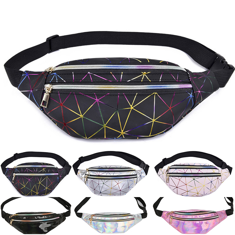 Waist Bags Women Pink Silver Fanny Pack female banana Belt Bag Wallet Bag Leg Holographic Waist Packs Laser Chest Phone Pouch(China)