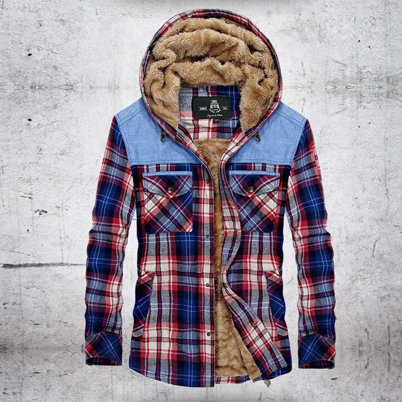Winter Jacket Men Fleece Warm Jacket Shirts Coat Pure Cotton Plaid Hooded Jackets Coats Single Breasted chaquetas hombre M-XXXL