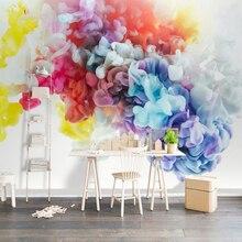 Обустройство дома настенные фрески обои современный 3D искусство абстрактный цвет дым гостиная диван ТВ фон украшение стены живопись