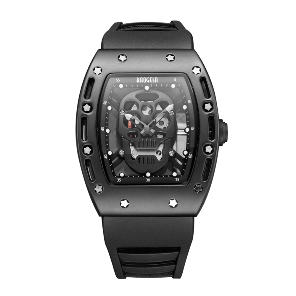 2019 Men Fashion Casual <font><b>Watch</b></font> Silicone Men Quartz <font><b>Watch</b></font> Waterproof <font><b>Watch</b></font> Personality Ghost Head Hollow Dial Relogio Masculino image