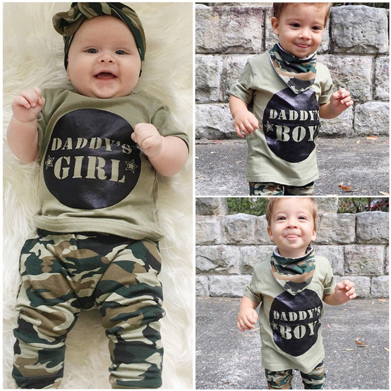 2019 New Camouflage Baby Clothes Daddy's Boy Girl Short Sleeve T-shirt Tops+Pant Outfit Toddler Kids Clothing Set 0-24M