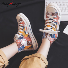 painted canvas shoes women casual sneakers shoes