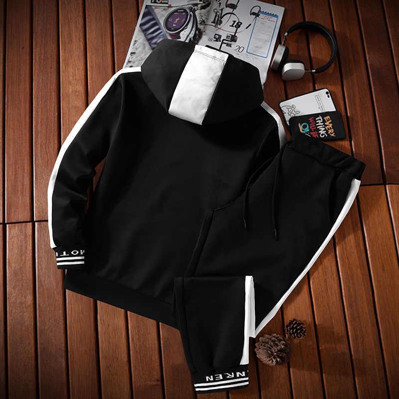 Trainingspak Set Mannen Sportkleding Pak Herfst Winter Hooded Sweatshirt Sportscholen Outfit Hoodies Joggingbroek Mannelijke 2 Delige Set 2020