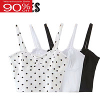 2020 Summer Sexy Camisole French Wave Point White Black Tanks Women Vacation Beach Cropped Tops(China)