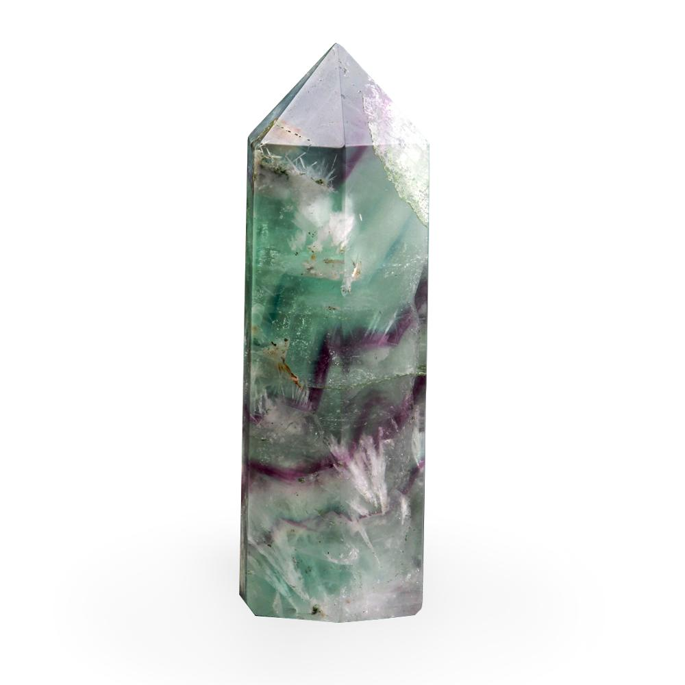 Natural 75*20mm Fluorite Green Clear Crystal Healing Wand Point Carving Scepter Cherry Quartz Reiki Stone Carved Free Pouch
