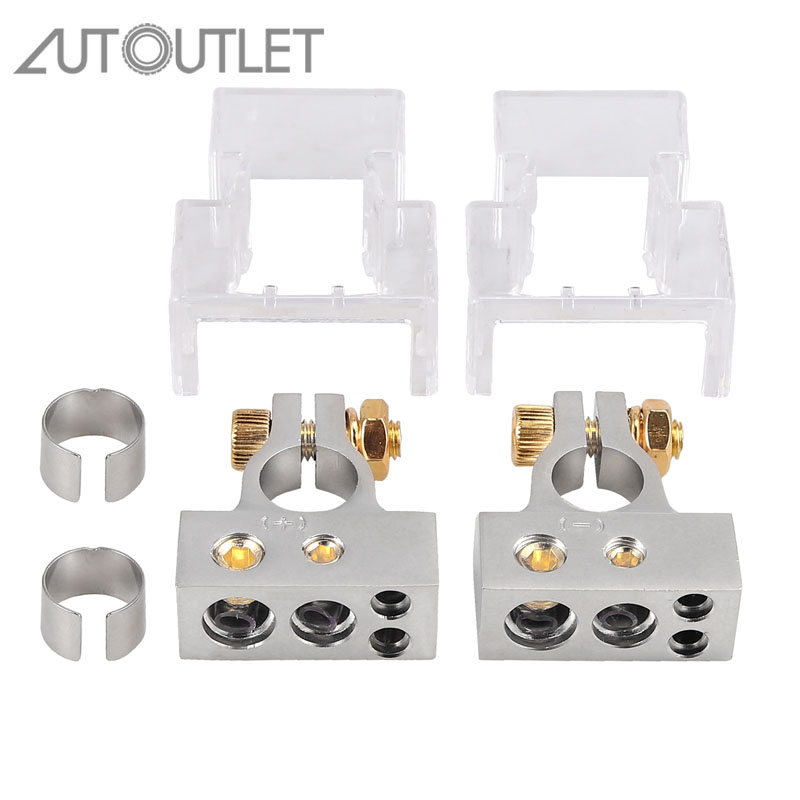 AUTOUTLET For 2 Pcs 2/4/8/10 AWG Battery Terminal Positive&Negative Connectors With Shims+Covers