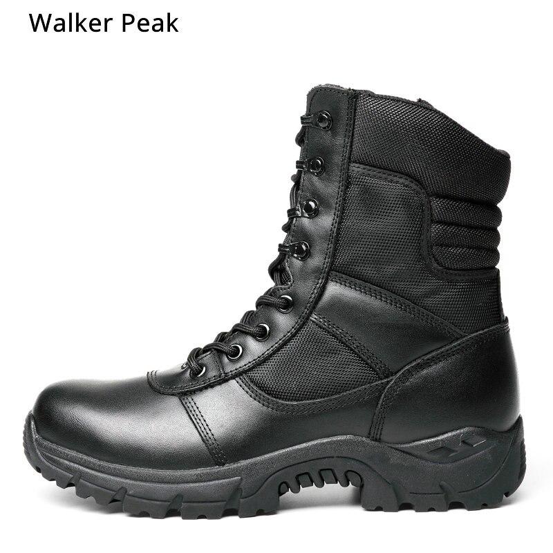 メンズミリタリーアーミーブーツ本革ヴィンテージレースアップ防水安全靴黒砂漠戦闘戦術的なアンクルブーツ男性  グループ上の 靴 からの 作業 & 安全ブーツ の中 1