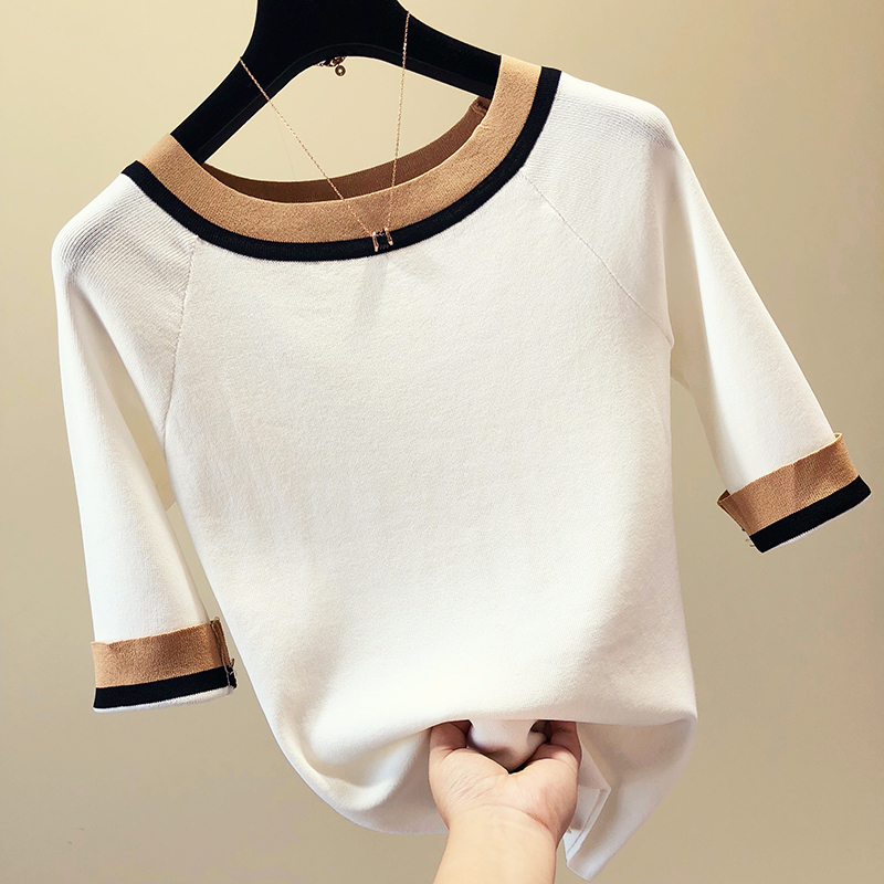 Patchwork Half Sleeve Sweater Women Thin Knitted Pullover Korean Slim Sweaters Fashion Tops 2019 Summer And Autumn New Arrival
