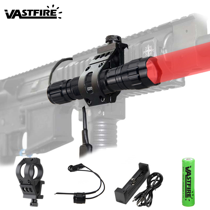 5000lm XM-T6 Led Weapon Gun Light Red Tactical Hunting Flashlight Rifle Scope Airsoft Mount Red Laser Dot Scout Lamp