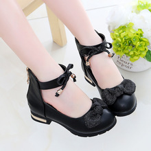 Bow Knot Children School Shoes Big Girls Leather Sh