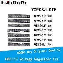 70/lote ams1117 kit regulador de tensão 1.2v/1.5v/1.8v/2.5v/3.3v/5.0v/adj 1117 7 valores cada 10 pces sot223