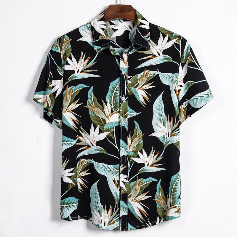 2020 Summer Hawaiian Shirt Mens Cotton Short Sleeve Floral Printed Loose Hawaiian Beach Shirts Plus Size 3XL Camisa Masculina