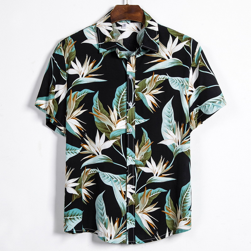 2020 Summer Man Shirt Mens Cotton Short Sleeve Floral Printed Loose Hawaiian Beach Shirts Plus Size Men 3XL Camisa Masculina