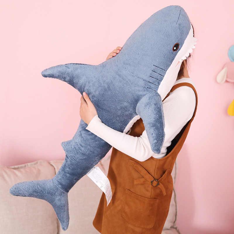 사랑스러운 뜨거운 새로운 1pc 80cm/100cm/140cm 큰 크기 재미 있은 소프트 물린 상어 플러시 장난감 베개 Appease 쿠션 선물 어린이 선물 물고기