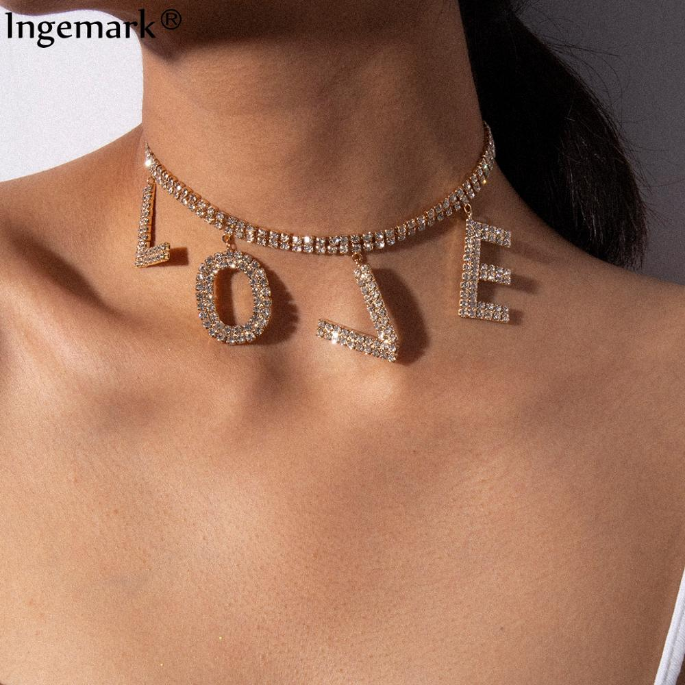 Luxury Crystal Love Letter Choker Necklace for Women Collar Femme Statement Punk Rhinestone Chain Necklace Couple Gothic Jewelry