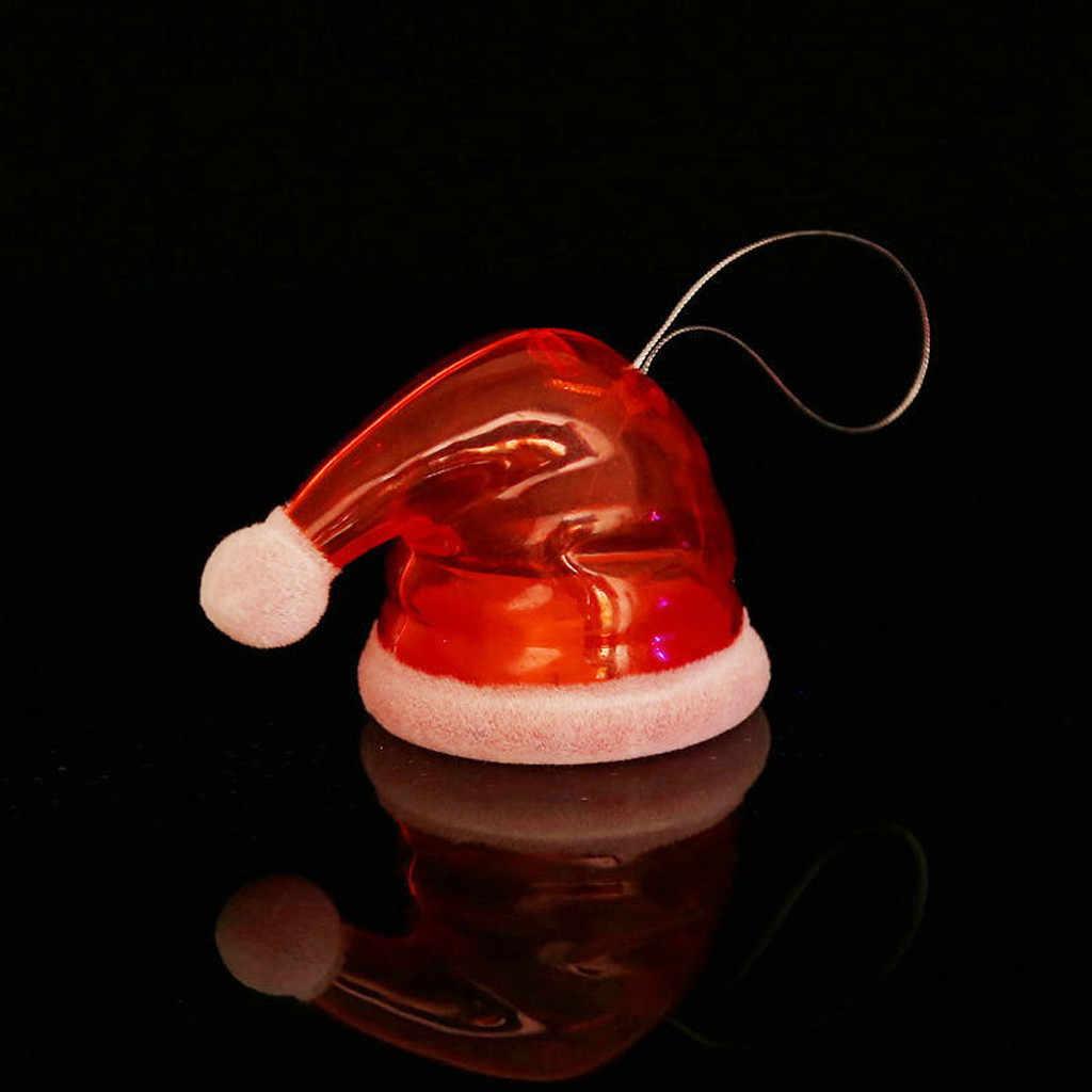 2 uds. Sombrero de Navidad zapatos con forma de luz LED árbol de Navidad colgante Navidad 2020 Año Nuevo Navidad Fiesta lámpara de luz brillante adorno de escritorio