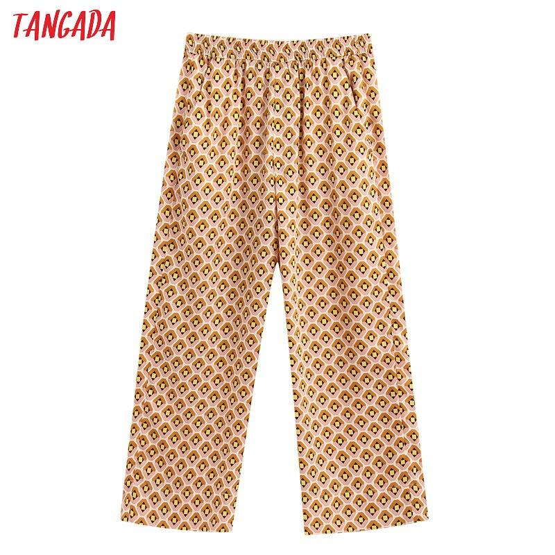 Tangada Fashion Women Geometric Print Pants Trousers Vintage Style Pockets Pants Pantalon BE337
