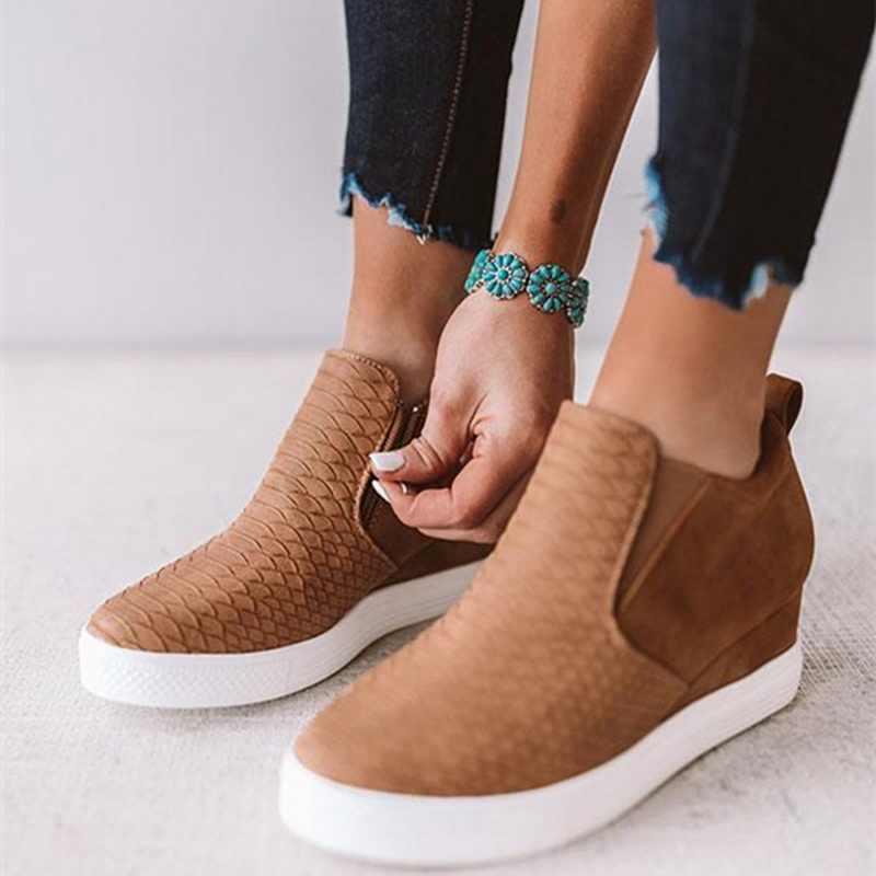 HEFLASHOR ผู้หญิง PU หนังรองเท้าแฟชั่นหญิง WEDGE รองเท้ารองเท้าผ้าใบสุภาพสตรีซิปแพลตฟอร์มรองเท้าแตะ