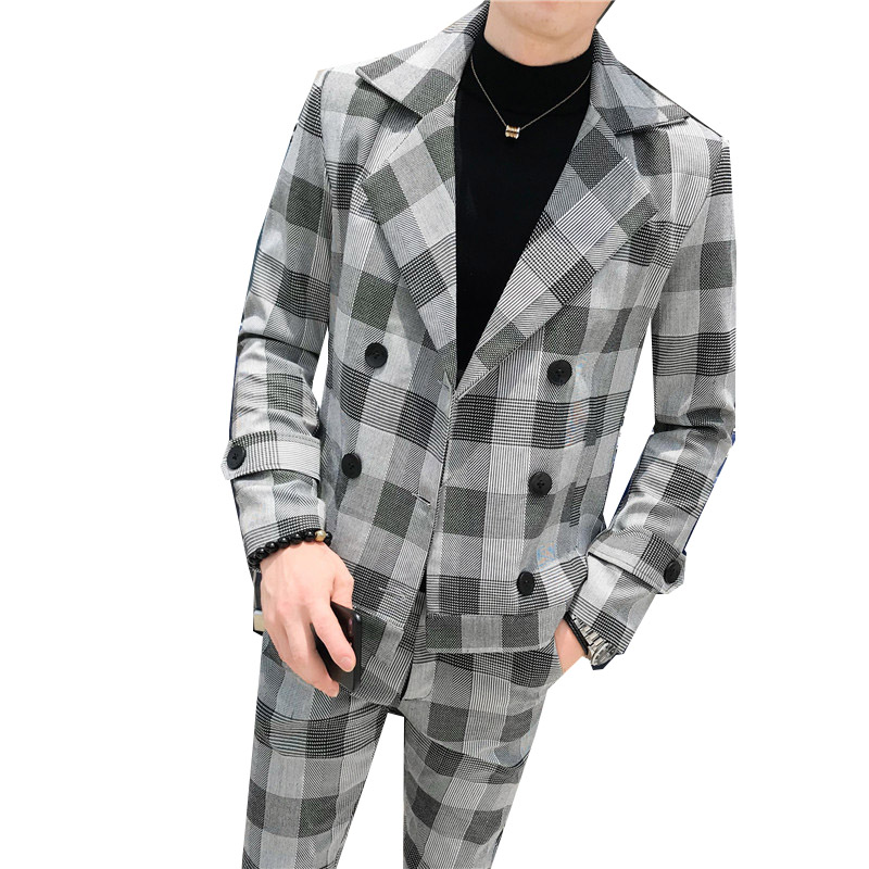 2019 Autumn Double-breasted Men's Plaid Suit 2-piece Suit (blazer + Suit Pants) Men's Fashion Casual Slim Large Size Plaid Suits