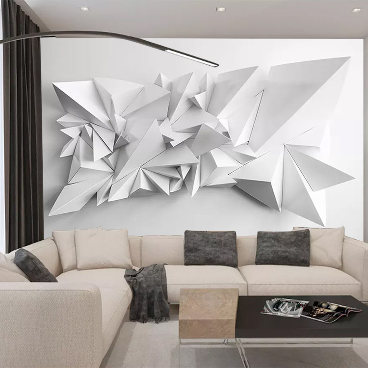 Minimalist Modern Ultra-strength 3D Visual Black And White Paper Folding Wallpaper Restaurant Wall Cloth Living Room Mural Water