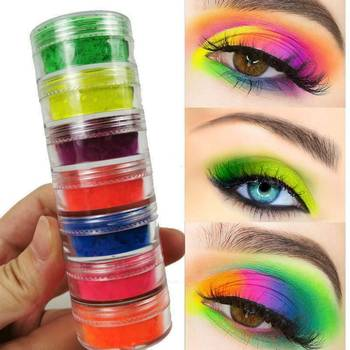 6 Colors Mixed Neon Eyeshadow Powder Matte Mineral Sequin Eye Shadow Palette Easy To Apply Waterproof Eyeshadow  TSLM1 2