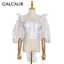 Женская рубашка с квадратным воротником galcaur белая приталенная