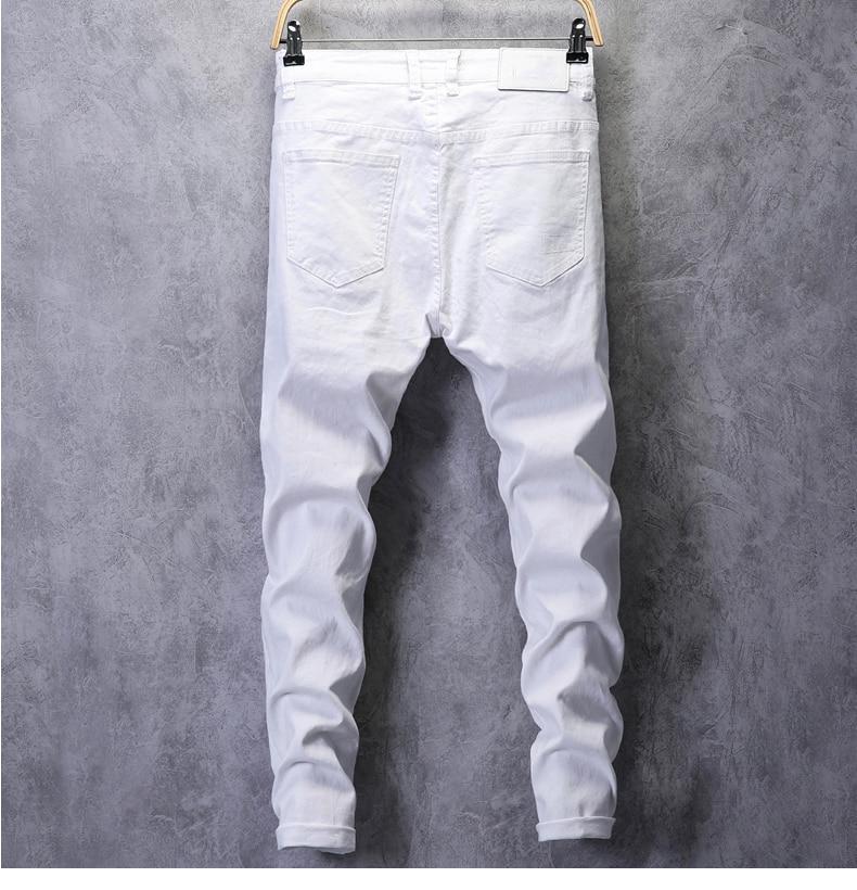 KSTUN Skinny Jeans Men Solid White Mens Jeans Brand Stretch Casual Men Fashioins Denim Pants Casual Yong Boy Students Trousers Cowboys 12