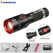Linterna LED de aluminio T6 recargable vía USB de 6000 lúmenes, linterna, linterna 18650 resistente al agua
