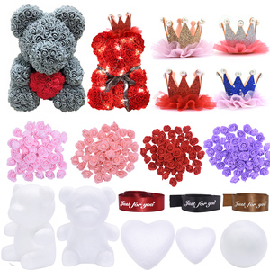 Polystyrene Styrofoam Foam Bear Rose Foam Heart Ball Mold Artificial Flower For Wedding Decor DIY Birthday Valentine's Day Gifts