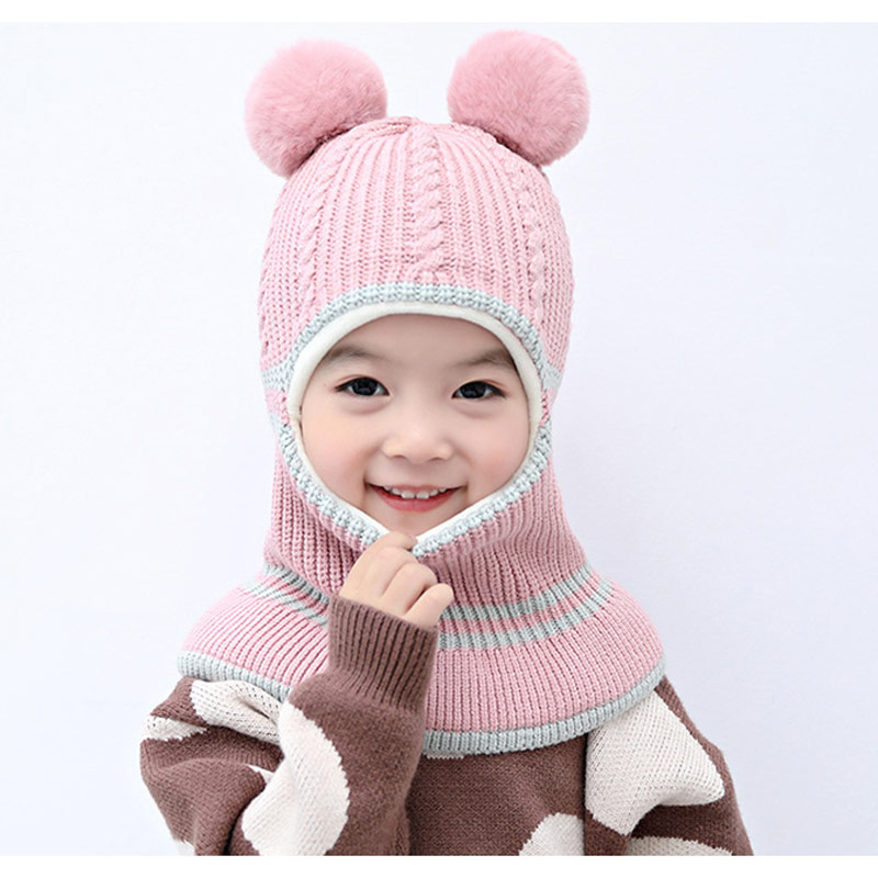 Thick Knitted Winter Hats For Kids 2-5years Children Balaclava Style Fleece Lining Girl Pom Beanie Pink Yellow Grey Black Beige