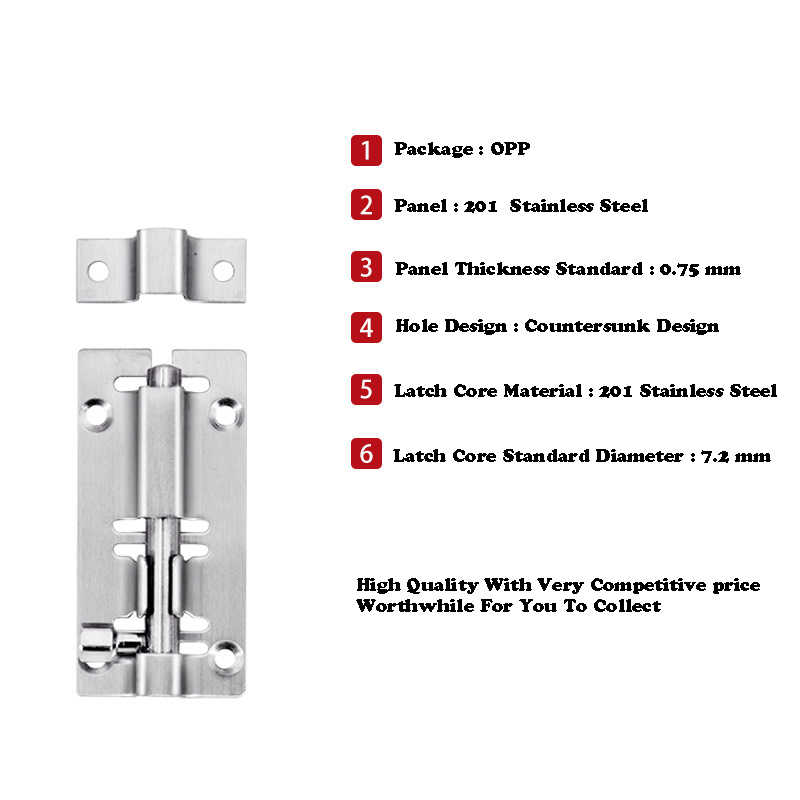 Hot 3~12 Inch Door Bolts 201/304 Stainless Steel Brushed Lock Bolt Latch Hasp Staple Gate Safety Lock With Screws Accessories