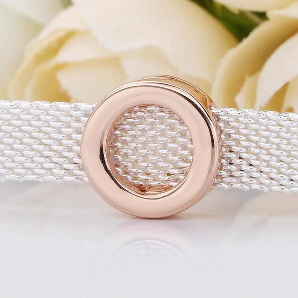 Rosa Original suave reflexiones logotipo tope de cuentas con clip Fit cuenta en plata esterlina 925 encanto Pandora pulsera brazalete de la joyería de Diy