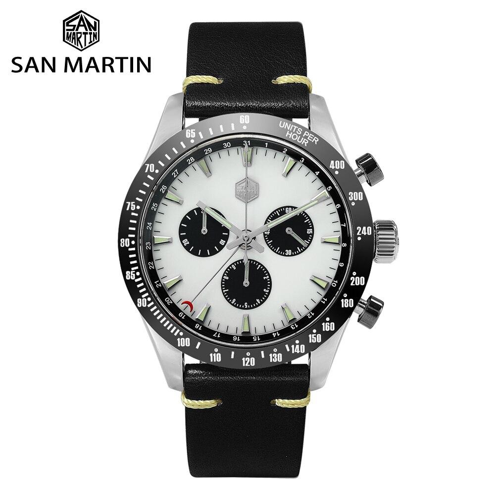 San Martin acier inoxydable hommes Quartz chronographe montre suisse Ronda 5040 F saphir céramique lunette cuir lumineux étanche