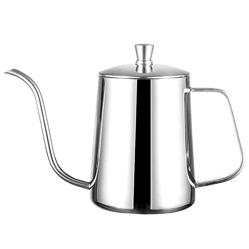 Ev ve Bahçe'ten Kahve Demlikleri'de Paslanmaz çelik montaj braketi el yumruk Pot kahve kapları ile kapak damla Gooseneck emzik uzun ağız kahve su isıtıcısı çaydanlık  gümüş title=