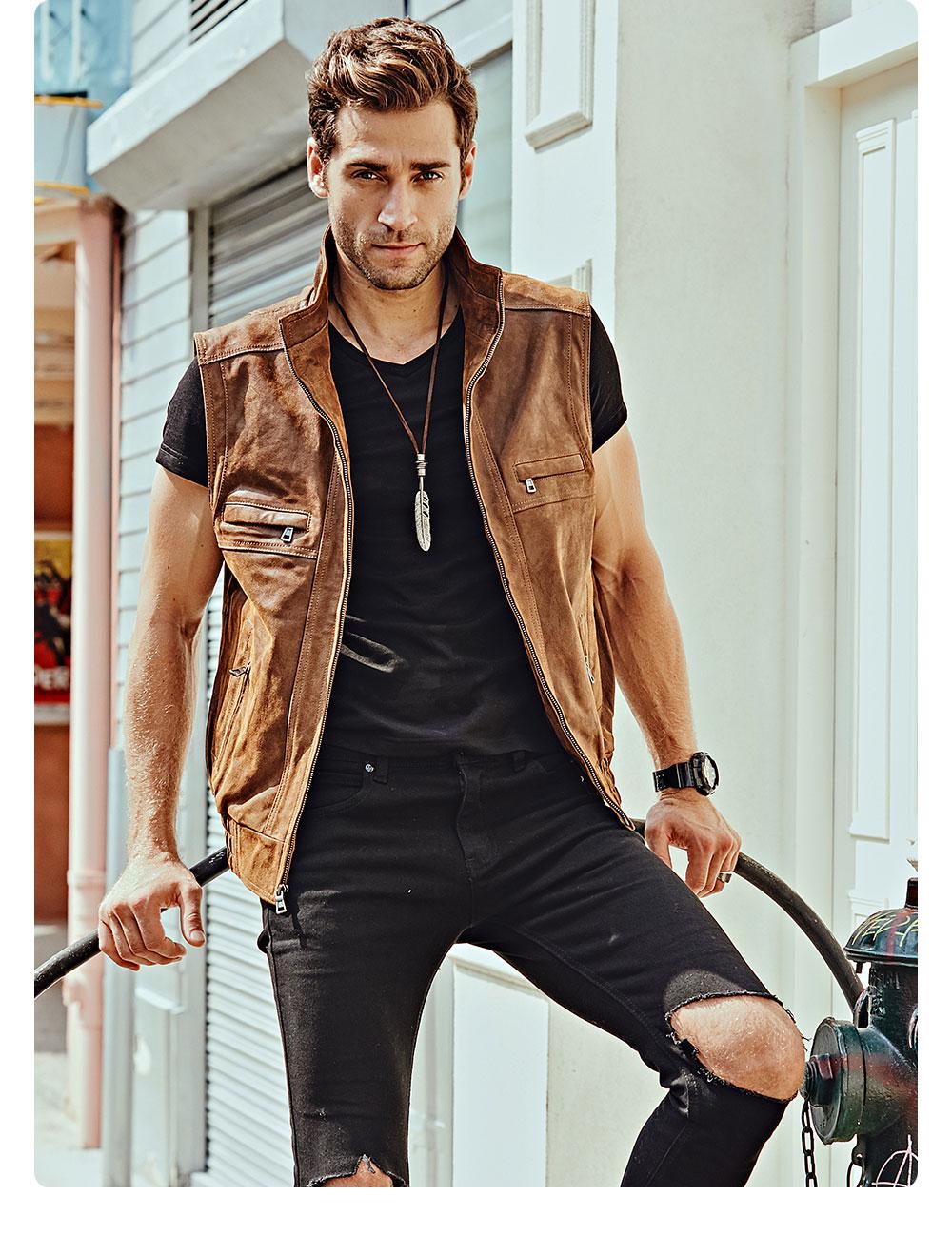 H567d5044fddd4a3e9139c1a9e26375d0y Mew Men's Leather Retro Vest Stand Collar Men's Motorcycle Casual Vest