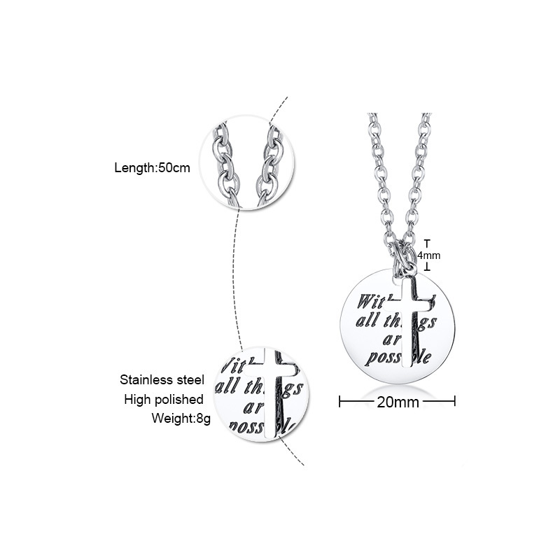 FXM CCN66 stainless steel necklace hot sell  popular single women 20mm cross and round lover gift women jewelry
