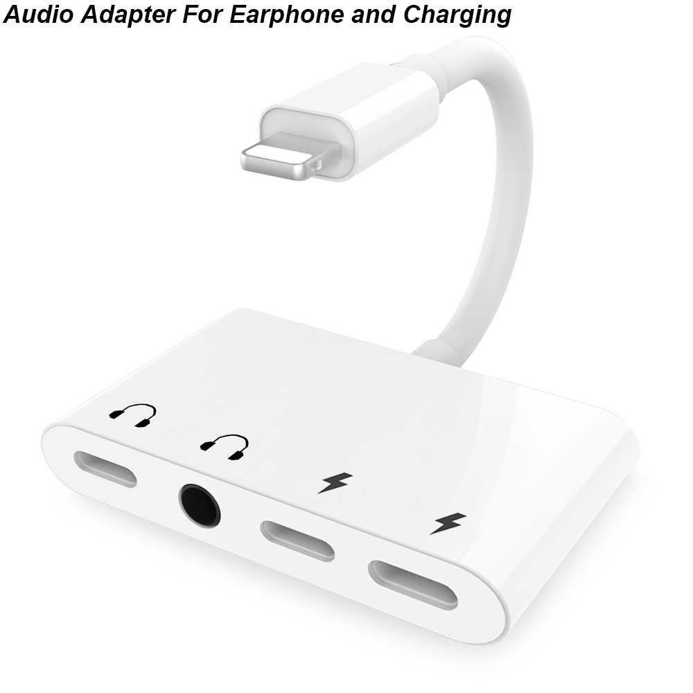 2 in 1 Audio Adapter Charging Earphone Cable For Lighting 3.5 mm To Headphone splitter 3 in 1 for Type c  USB To Computer Phone