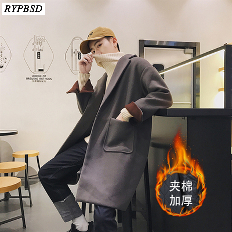 New 2019 Fashion Casual High Quality Men Trench Coat Long Sleeve Thicken Turn-Down Collar Outwear Warm Winter Long Overcoat Men