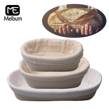 Meibum 9 Sizes Of Oval Bread Brotform Banneton Fermentation Rattan Basket Dough Proofing Baskets With Linen Liner Baking Tools
