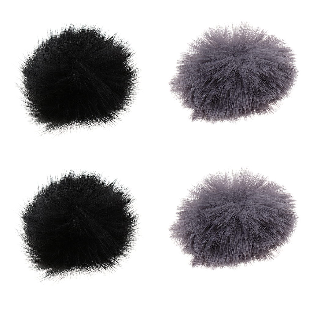 4 Pieces Each Pack Furry Cover Wind Screen Windshield Wind Muff For Lapel Lavalier Microphone (2 X Black, 2 X Gray)