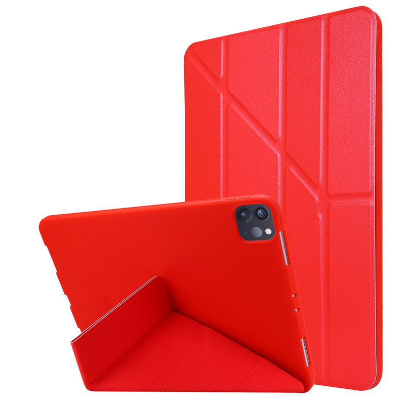 Red Yellow For 2020 iPad Pro 11 inch Case PU Leather Soft Silicone Back Magnetic Smart Cover for