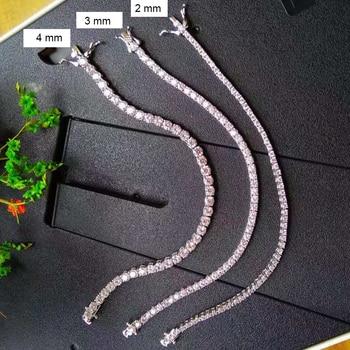 Classic 17.5 cm tennis bracelets Real 925 silver jewelry 2mm 3mm 4mm 5A Zironia Eternal wedding luxury sterling silver Bracelet 3