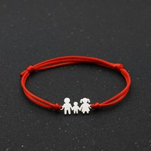 Cute Bear Handmade Infinity Bracelet Charm Stainless Steel Family Dad Mom Son Lucky Red