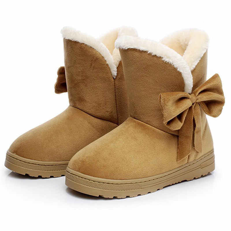 Kış ayak bileği kar botları kadın sıcak peluş kürk botları yay siyah ayakkabı Botas Mujer