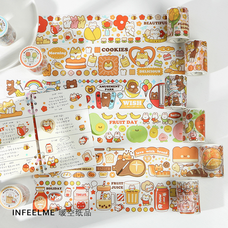 Busy Happy Japanese Paper Washi Tape DIY Decorative Masking Tape Stationery Sticker For Scrapbooking & Phone Deco